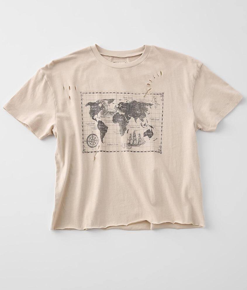 Modish Rebel Vintage Map T-Shirt front view