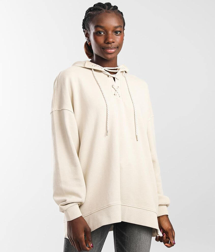 BKE Lace-Up Hooded Sweatshirt front view