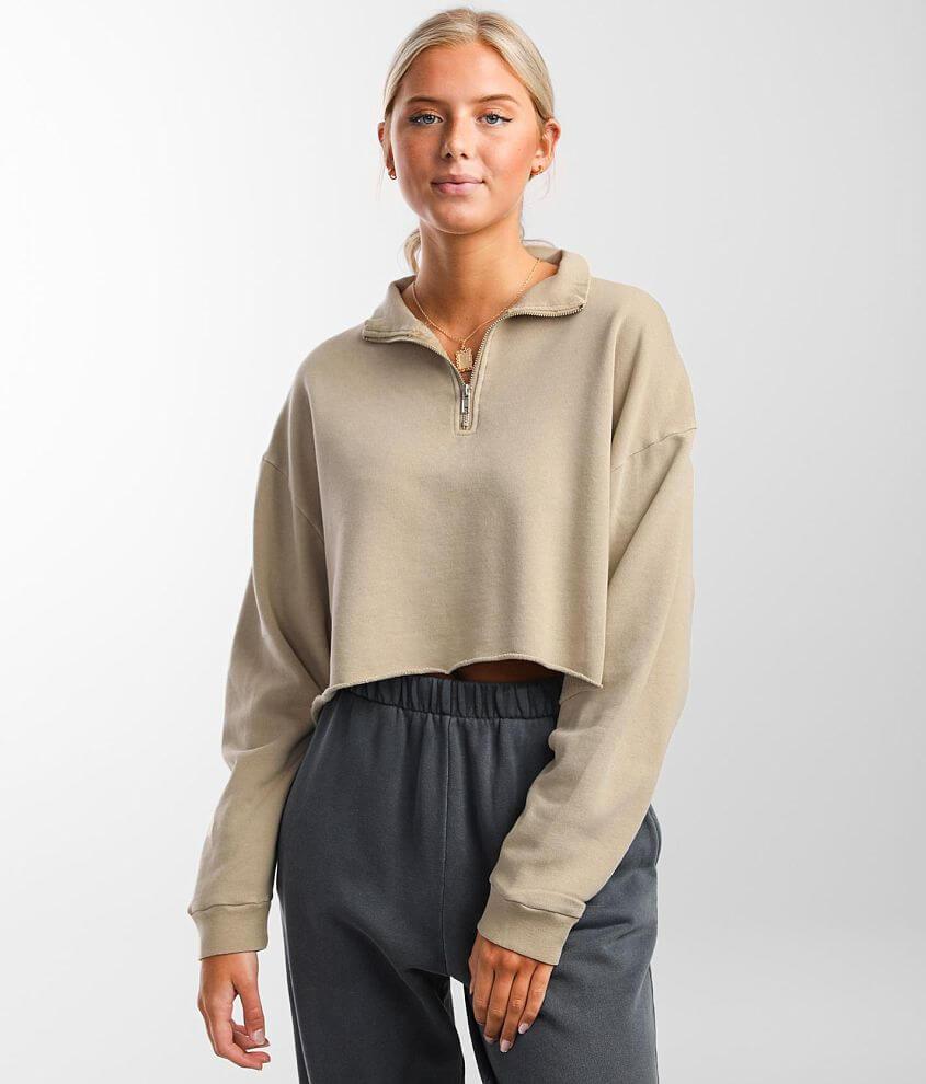 FITZ + EDDI Quarter Zip Cropped Sweatshirt front view