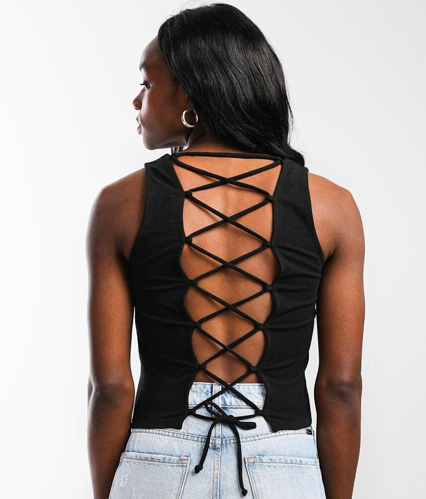 Gilded Intent Back Lace-Up Cropped Tank Top front view