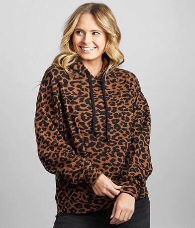 BKE Cheetah Print Hooded Sweatshirt