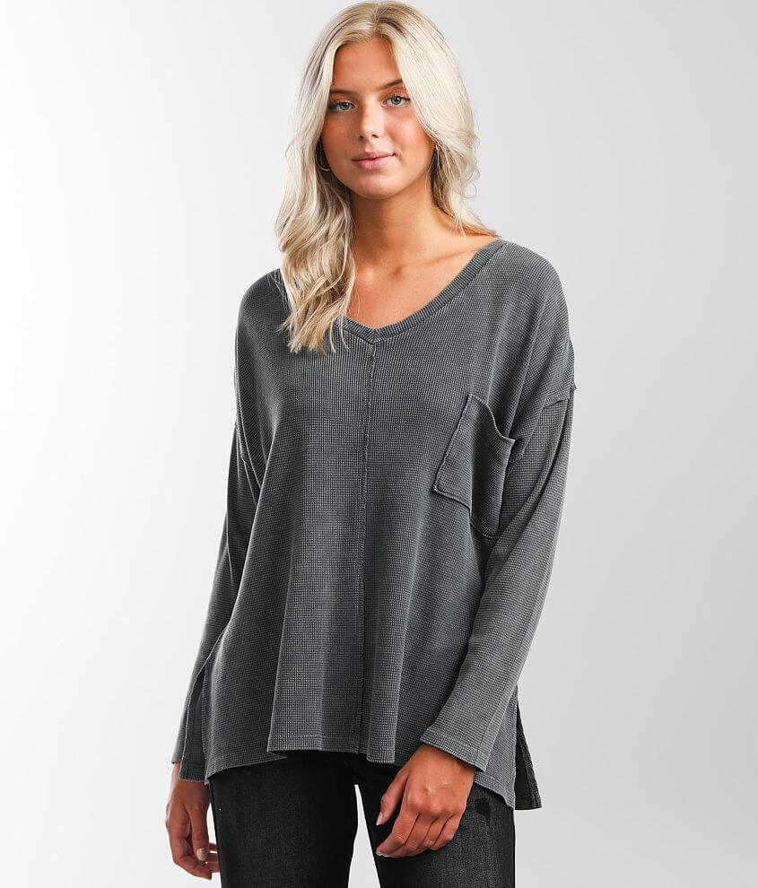 BKE Washed V-Neck Thermal front view