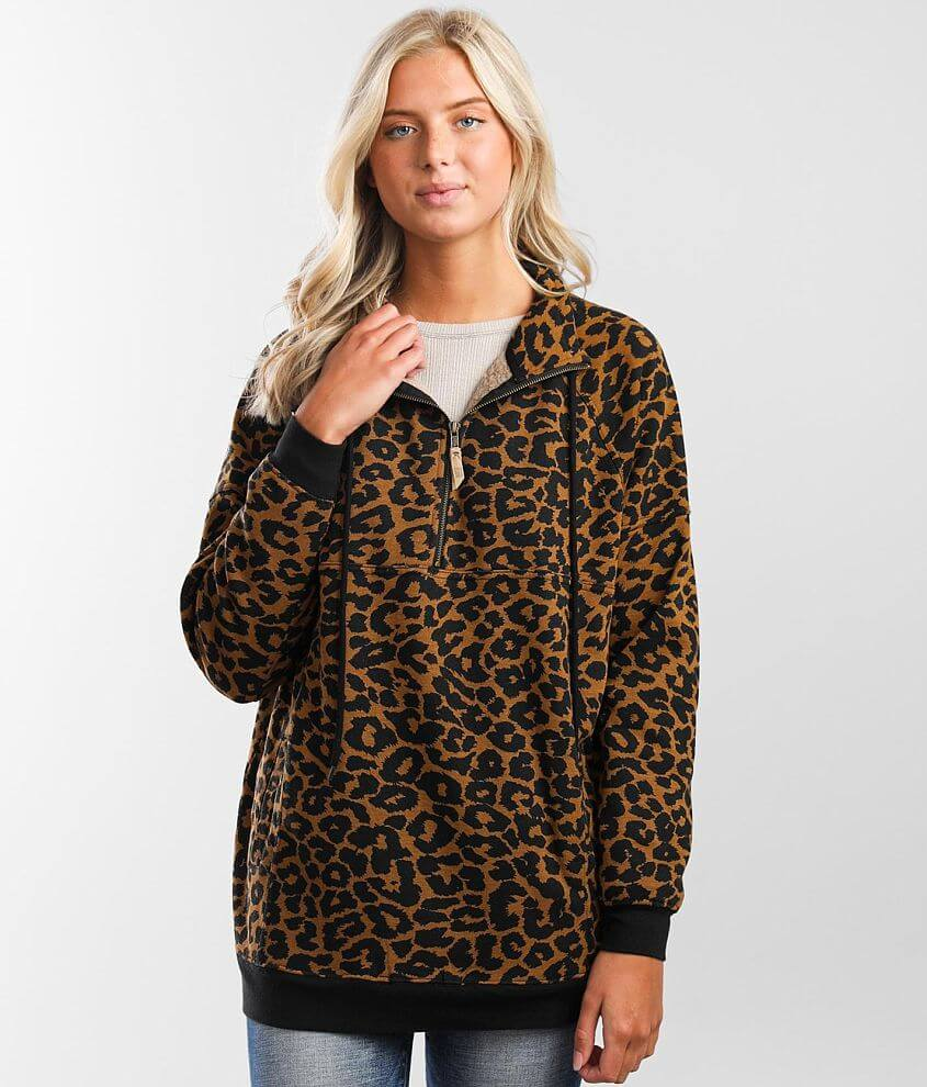BKE Leopard Print Pullover front view
