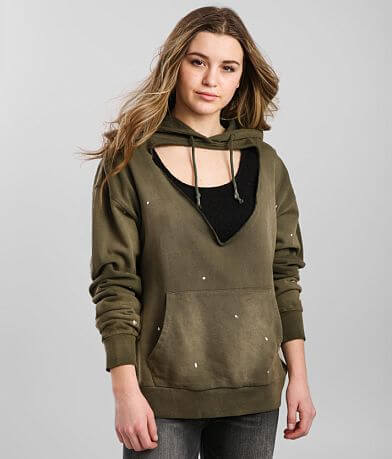 Gilded Intent Cut-Out Hooded Sweatshirt