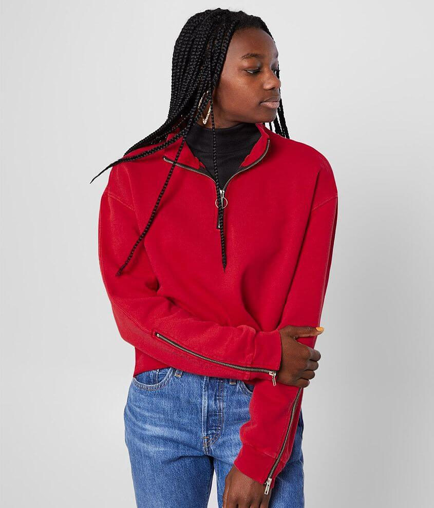 Gilded Intent Quarter Zip Cropped Pullover front view