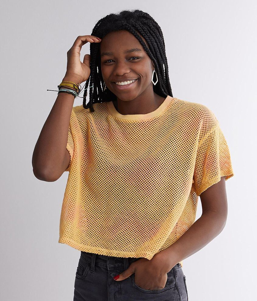 Gilded Intent Tie Dye Mesh Cropped Top front view