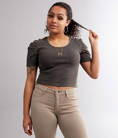 Gilded Intent Ruched Sleeve Cropped Top