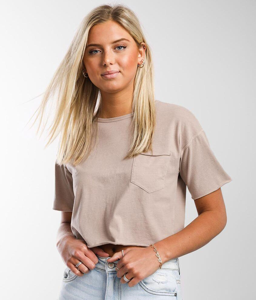 FITZ + EDDI Chest Pocket Cropped T-Shirt front view