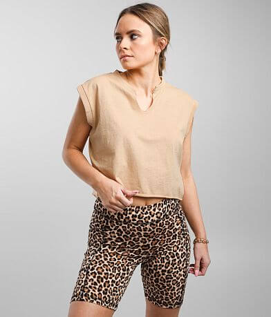 Gilded Intent Cropped Cap Sleeve T-Shirt