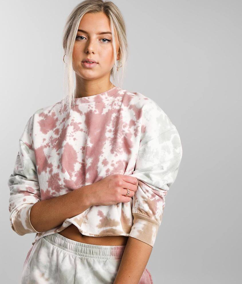 Gilded Intent Tie Dye Cropped Pullover front view