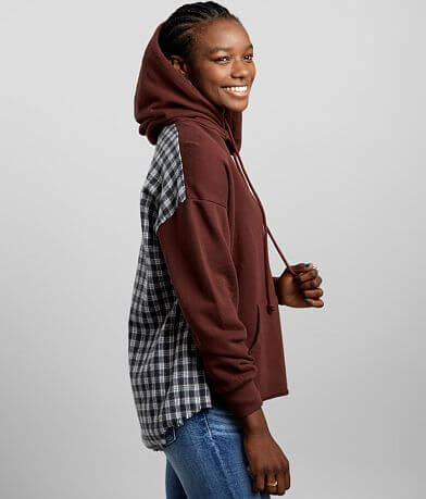 Gilded Intent Pieced Plaid Hooded Sweatshirt