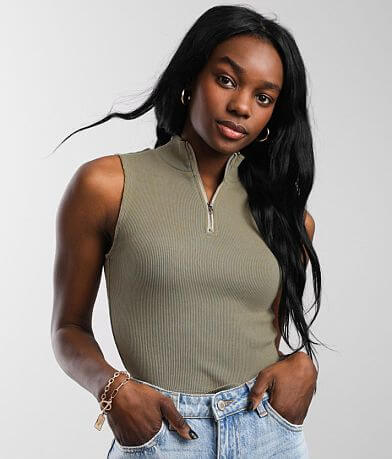 Gilded Intent Washed Quarter Zip Tank Top
