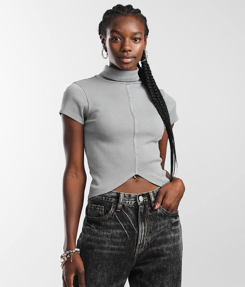 Gilded Intent Mock Neck Cropped Top front view