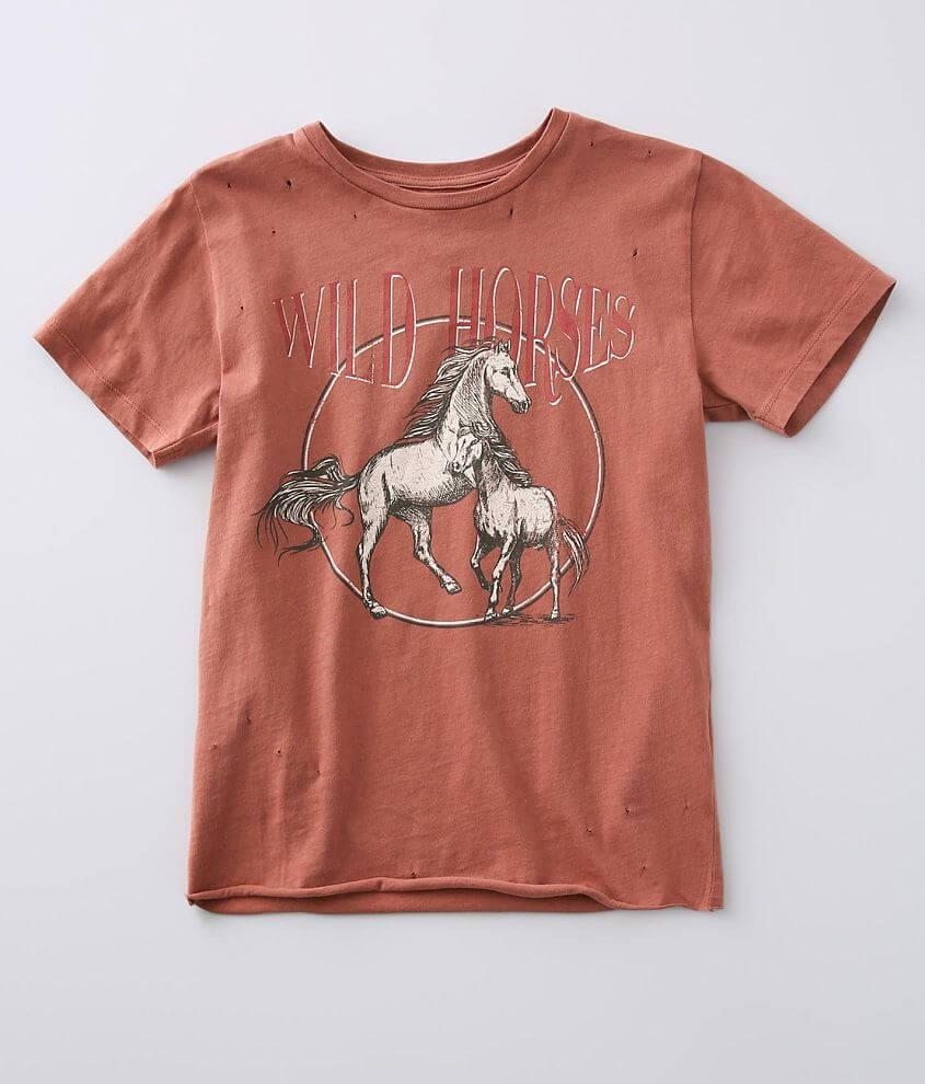 Girls - Modish Rebel Wild Horses T-Shirt front view