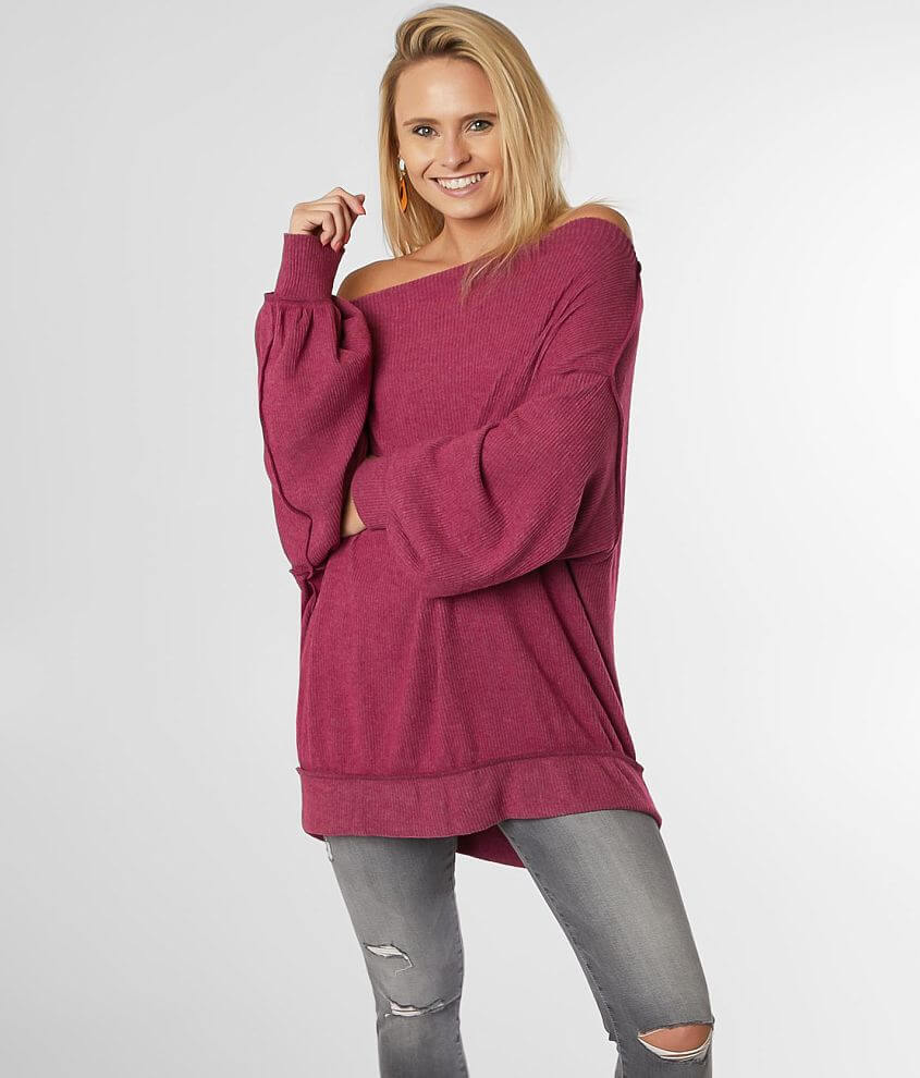 Ribbed off the shoulder slouchy knit top Exposed seam details Bust measures 51\\\