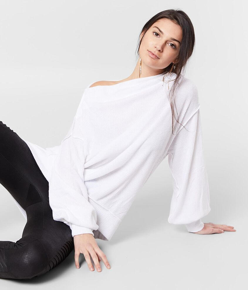 Free People Main Squeeze Brushed Hacci Top front view