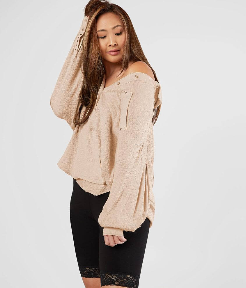 Free People Solid Hidden Valley Blouse front view