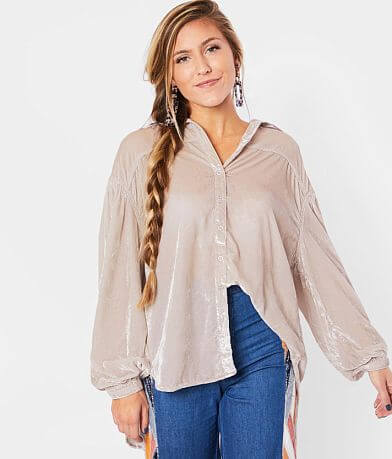 Free People La Luna Crushed Velvet Blouse