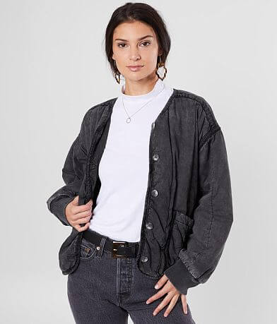 Free People Mixed Signals Washed Jacket