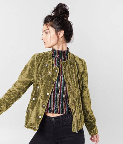 Free People Dusk Til Dawn Cropped Velvet Jacket
