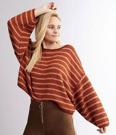 Free People Bardot Striped Sweater