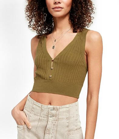 Free People Saturday Morning Cropped Tank Top
