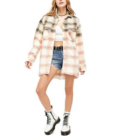 Free People Anneli Plaid Oversized Shirt Jacket