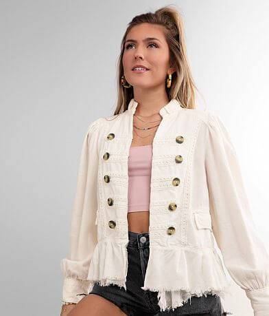 Free People Ariana Lace Trim Jacket