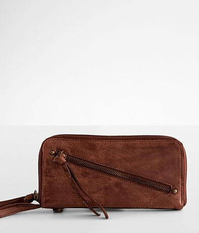Free People Distressed Leather Wristlet Wallet