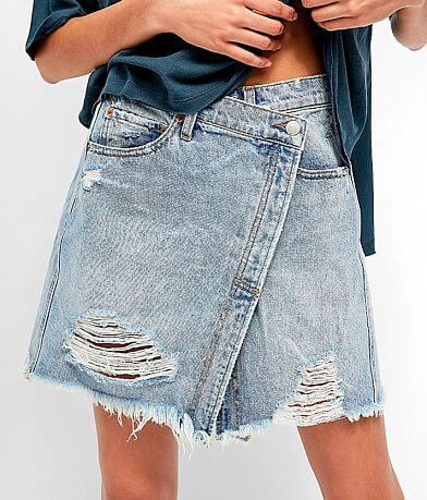 Free People Parker Denim Wrap Skirt