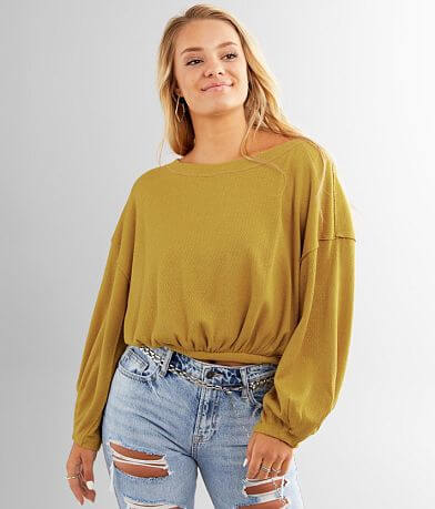 Free People Cuddle Bubble Cropped Pullover