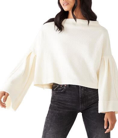 Free People Bunny Cropped Boat Neck Pullover