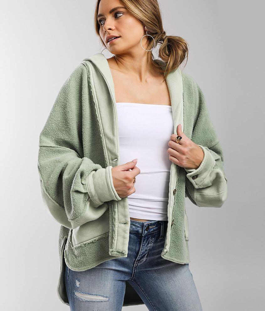 Free People Jordan Reverse Fleece Shacket front view