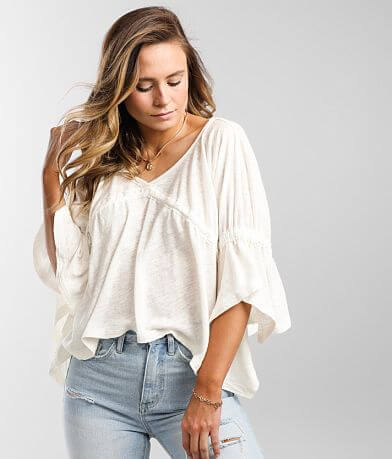 Free People Sand Storm Cropped Slub Knit Top