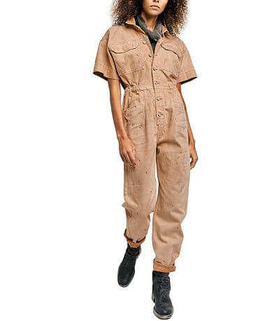 Free People Marci Denim Coverall Jumpsuit