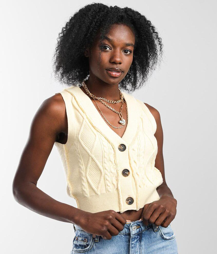 Free People Denson Cropped Sweater Vest front view