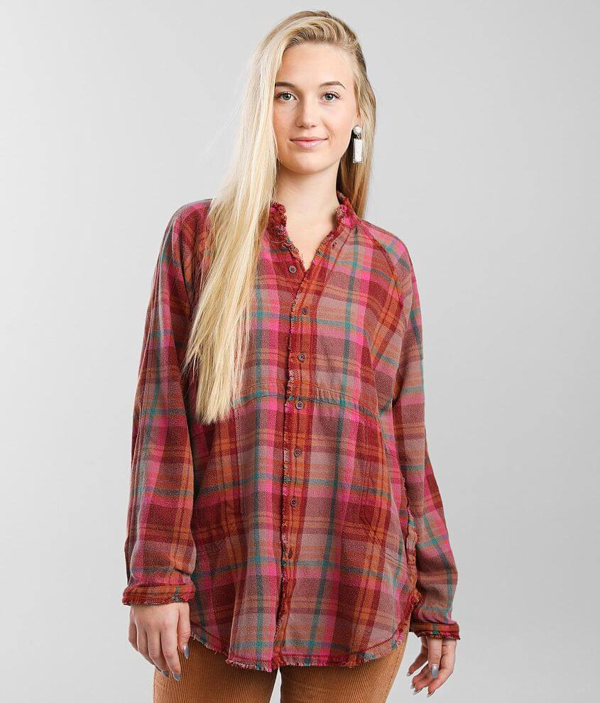 Free People Summer Daydream Plaid Tunic Shirt front view