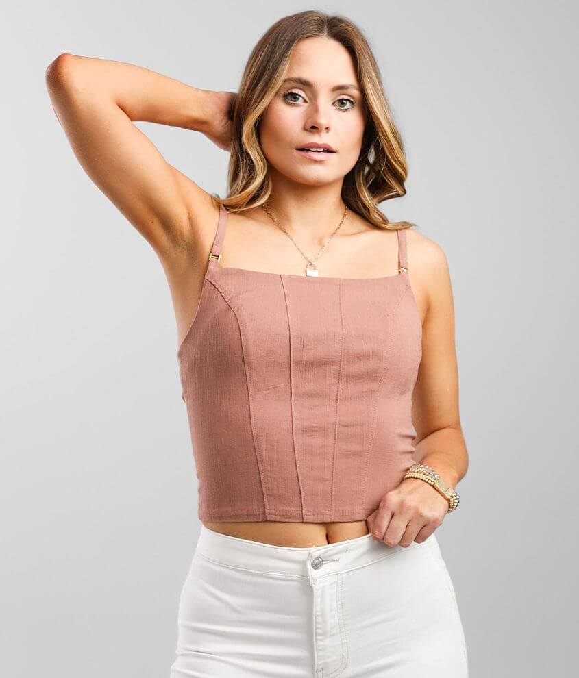 Free People Back On Track Cropped Cami Tank Top front view
