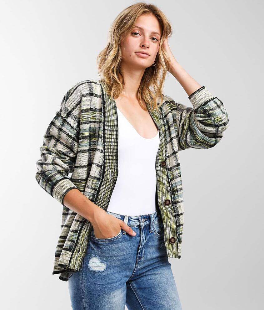 Free People McGregor Plaid Cardigan Sweater front view