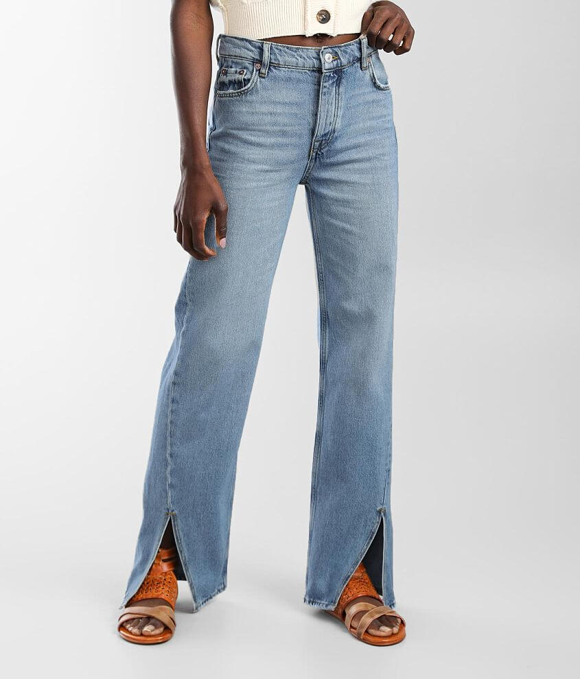 Free People Long Lines Slit Straight Jean front view