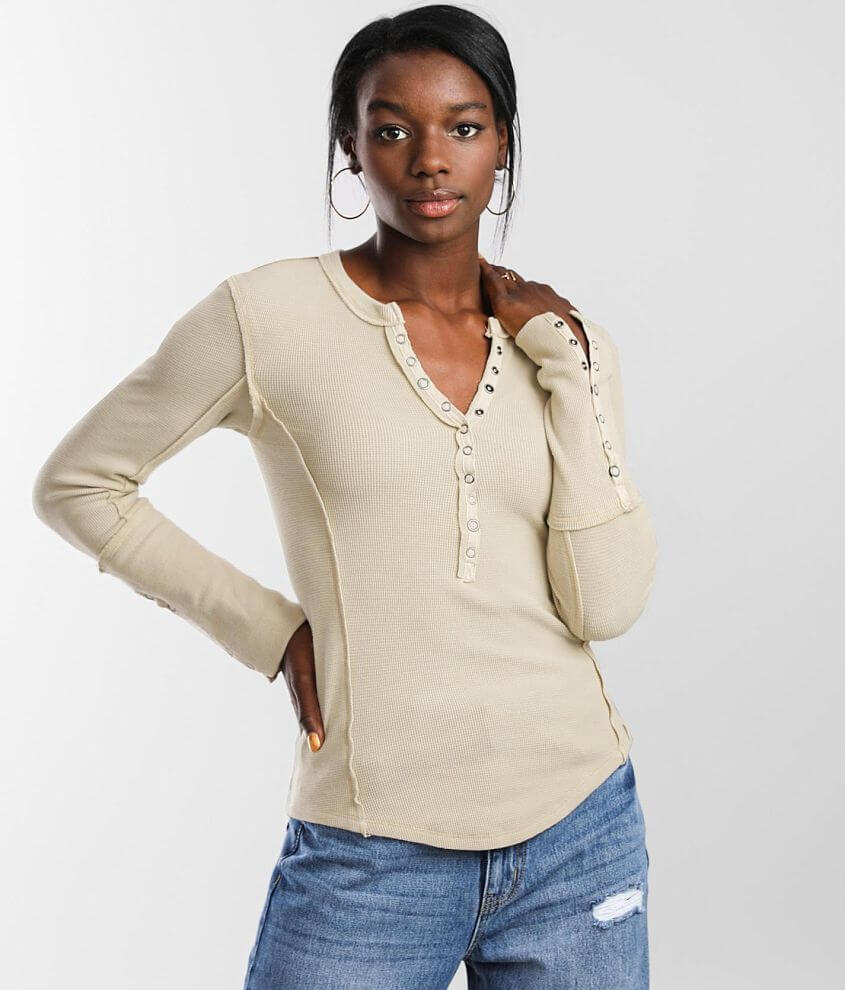 Free People Nailed It Thermal Henley front view