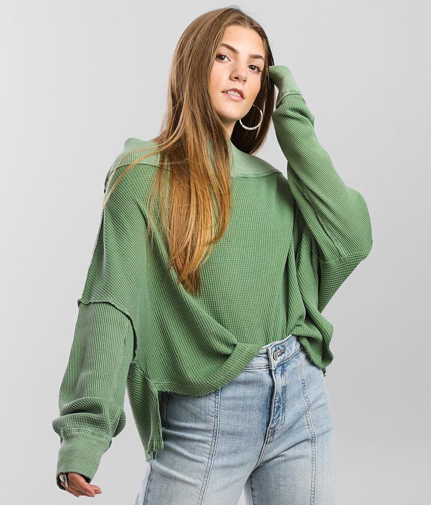 Free People Close To You Waffle Knit Top front view
