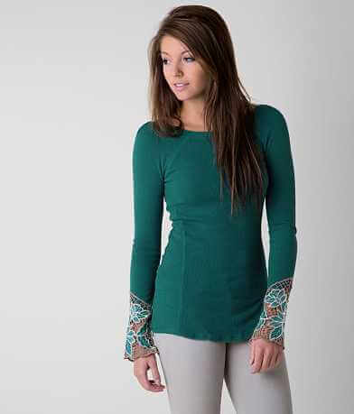 Free People Embroidered Thermal Top