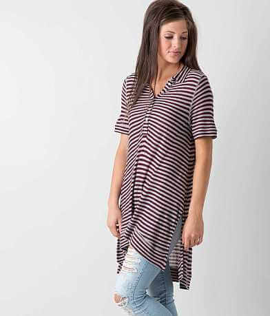 Free People Striped Henley Top
