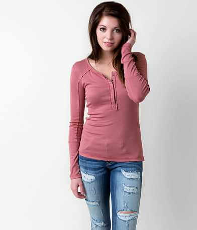Free People Ribbed Henley Top