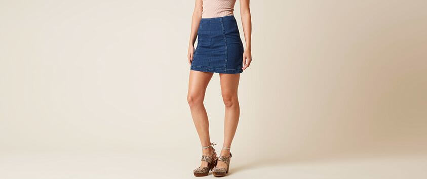 Free People Modern Femme Denim Stretch Skirt front view
