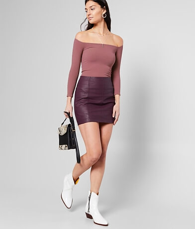 Free People Modern Femme Vegan Leather Mini Skirt