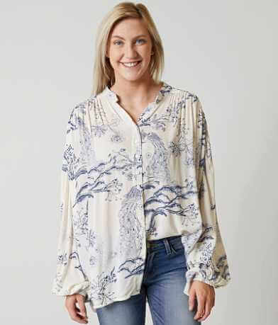Free People Metallic Blooms Blouse