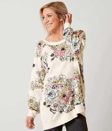 Free People Go On Floral Sweatshirt