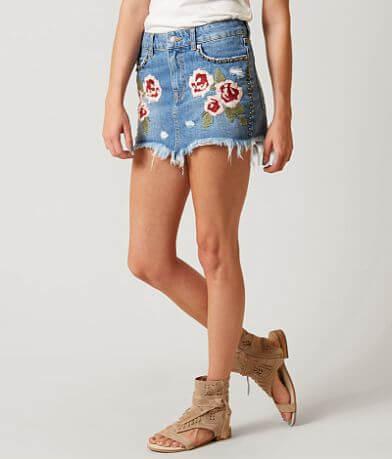 Free People Wild Rose Denim Skirt